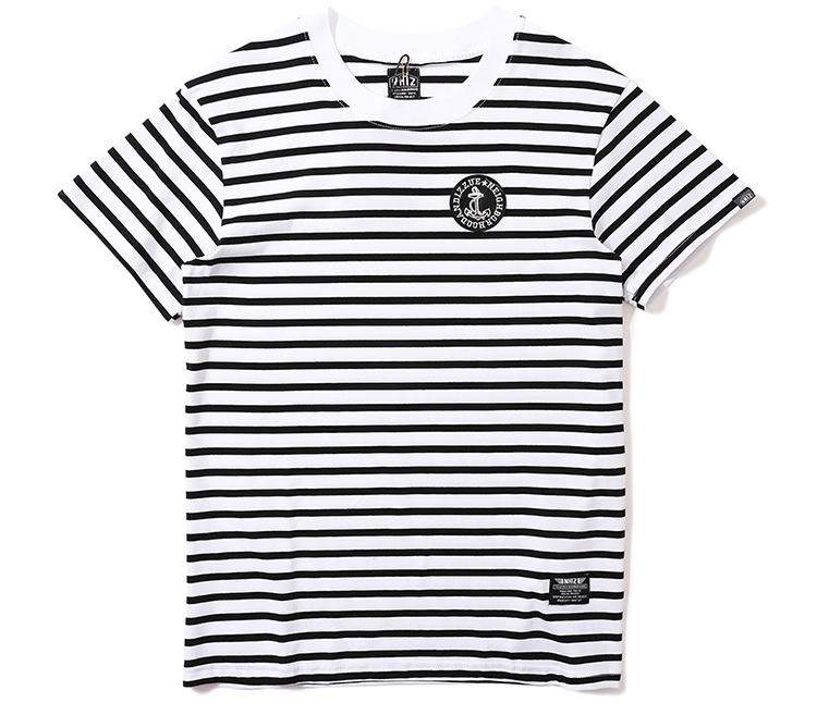 供应香港潮牌男装船锚贴章刺绣黑白条纹圆桶无缝短袖t恤