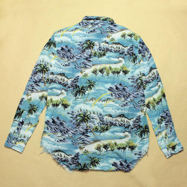 slp gd上身 沙滩椰子树 定制图案面料 长袖衬衫