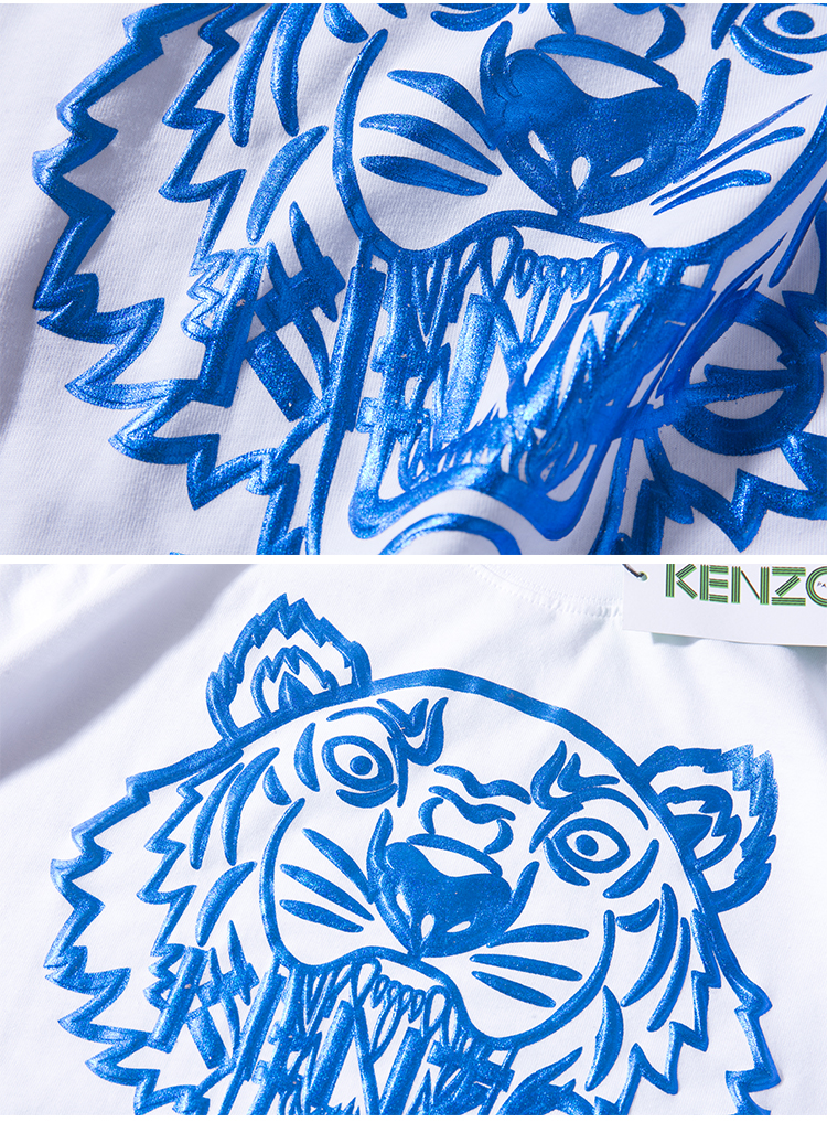 kenzo 蓝色老虎头拼接kenzo字母