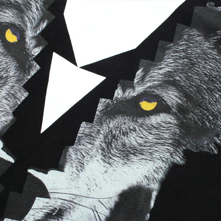 2016新款 黑白拼接狼头图案 圆领长袖卫衣