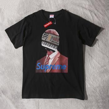 2015新款 supreme 休闲人像钢琴键拼接字母图案 圆领短袖t恤