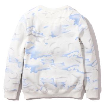 2014冬装新款 欧美时尚 英文刺绣 天空云彩晕染 男女情侣圆领卫衣