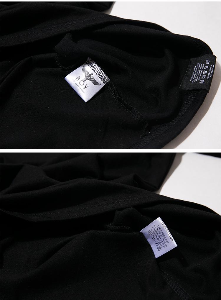 新款boy 潮牌 条纹飞鹰图案侧边字母 圆领短袖休闲t恤