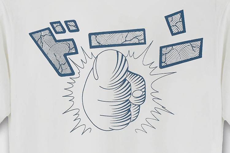 可爱卡通怪兽拳头图案印花圆领短袖t恤